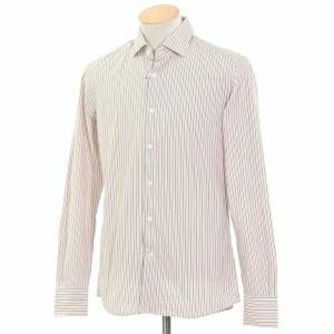 グランシャツ Glanshirt コットン ストライプ セミワイドカラーシャツ ホワイト×ダークブルー×オレンジ 38|ritagliolibro