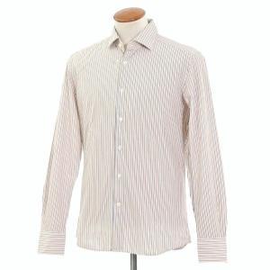 グランシャツ Glanshirt コットン ストライプ セミワイドカラーシャツ ホワイト×ダークブルー×オレンジ 39|ritagliolibro