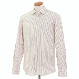 グランシャツ Glanshirt コットン ストライプ セミワイドカラーシャツ ホワイト×ダークブルー×オレンジ 40|ritagliolibro