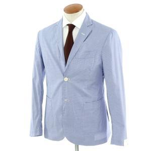 ジョバンニ イングレーゼ Giovanni Inglese チェック コットン  アンコン シャツジャケット ネイビー×ホワイト 48|ritagliolibro