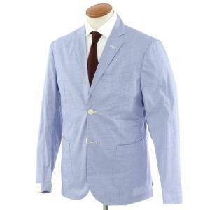 ジョバンニ イングレーゼ Giovanni Inglese チェック コットン  アンコン シャツジャケット ネイビー×ホワイト 50|ritagliolibro
