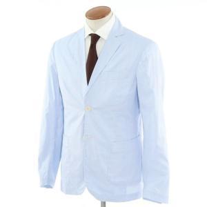 ジョバンニ イングレーゼ Giovanni Inglese チェック コットン  アンコン シャツジャケット ライトブルー×ホワイト 48|ritagliolibro