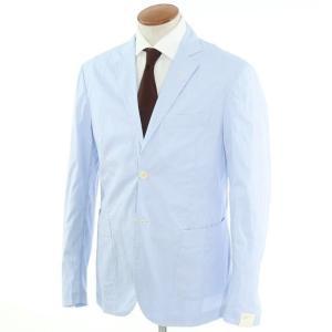 ジョバンニ イングレーゼ Giovanni Inglese チェック コットン  アンコン シャツジャケット ライトブルー×ホワイト 52|ritagliolibro