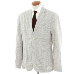 ジョバンニ イングレーゼ Giovanni Inglese チェック リネン アンコン シャツジャケット アッシュブラウン×ホワイト 52|ritagliolibro