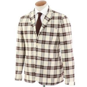 ジョバンニ イングレーゼ Giovanni Inglese チェック コットン アンコン シャツジャケット ブラウン×ホワイト 48|ritagliolibro