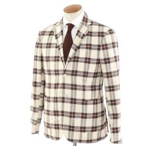 ジョバンニ イングレーゼ Giovanni Inglese チェック コットン アンコン シャツジャケット ブラウン×ホワイト 50|ritagliolibro