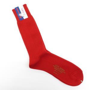 ネイビールーツ NAVY ROOTS ウール 変則リブ ソックス 靴下 レッド 25-27cm(ワンサイズ展開) ritagliolibro