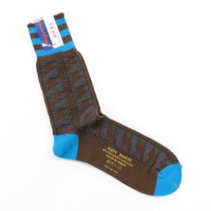 ネイビールーツ NAVY ROOTS 稲妻柄 コットン ソックス 靴下 ブラウン×ブルー 25-27cm(ワンサイズ)|ritagliolibro