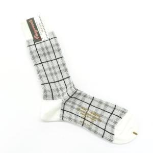 ネイビールーツ NAVY ROOTS チェック柄 コットン×アクリル×ウール ソックス 靴下 ホワイト×グレー 25-27cm(ワンサイズ) ritagliolibro