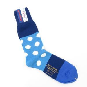 ネイビールーツ NAVY ROOTS コットン ポルカドット ソックス 靴下 ブルー×ネイビー 25-27cm(ワンサイズ)|ritagliolibro