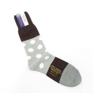 ネイビールーツ NAVY ROOTS コットン ポルカドット ソックス 靴下 グレー×ブラウン 25-27cm(ワンサイズ)|ritagliolibro