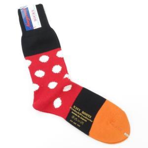 ネイビールーツ NAVY ROOTS コットン ポルカドット ソックス 靴下 レッド×ブラック 25-27cm(ワンサイズ)|ritagliolibro