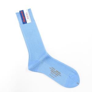 ネイビールーツ NAVY ROOTS コットン リブソックス 靴下 サックス 25-27cm(ワンサイズ)|ritagliolibro