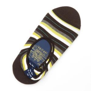 ネイビールーツ NAVY ROOTS ボーダー柄 コットン×ポリエステル シューズインソックス 靴下 ブラウン 25-27cm(ワンサイズ) ritagliolibro
