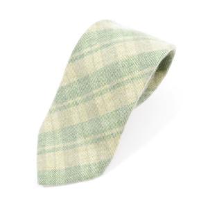ステファノ ビジ stefano bigi チェック柄 カシミア 三つ折り ネクタイ ベージュ×グリーン|ritagliolibro