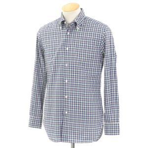 エディフィス EDIFICE チェック ボタンダウン カジュアルシャツ ネイビー×グリーン×ブラウン系 38|ritagliolibro