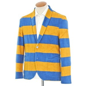 アウトレット ルトロワ Letroyes ×m's braque パイルコットン ボーダー カーディガン ニットジャケット ブルー×オレンジ M ritagliolibro