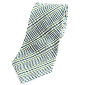 ステファノ ビジ stefano bigi チェック柄 三つ折り シルク ネクタイ グリーン×ホワイト|ritagliolibro