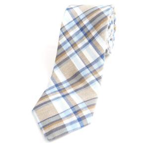 ブリューワー BREUER チェック柄 三つ折り リネン×コットン ネクタイ オフホワイト×グレージュ×ブルー|ritagliolibro