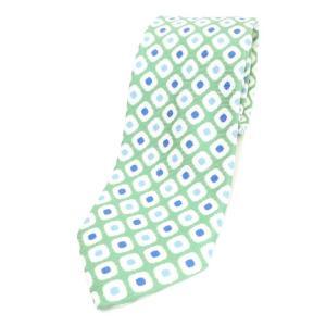 アルテア ALTEA プリント 三つ折り シルク ネクタイ グリーン×オフホワイト ritagliolibro