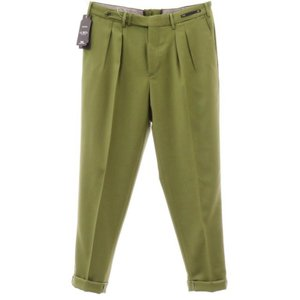 ピーティーゼロウーノ PT01 ウール ツープリーツ スラックス パンツ LA BOCA オリーブグリーン 50|ritagliolibro