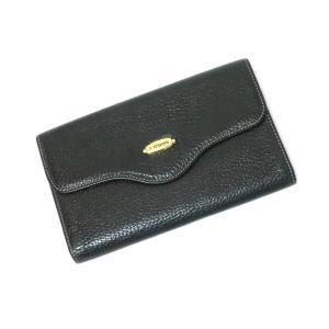 ア テストーニ a.testoni レザー 3つ折り 財布 ブラック|ritagliolibro