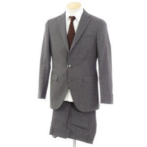 ボリオリ BOGLIOLI ウール 3つボタン スーツ HAMPTON ダークグレー×ホワイト 44|ritagliolibro