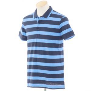 未使用 ヒューゴボス HUGO BOSS ボーダー柄 コットン鹿の子 半袖ポロシャツ ネイビー×ブルー S ritagliolibro