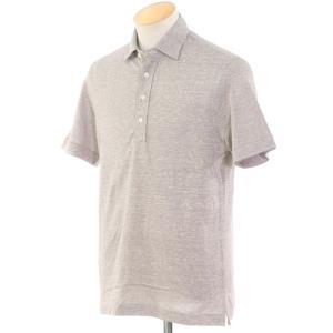 ギローバー GUY ROVER コットンリネン 半袖ポロシャツ グレージュ×ホワイト S|ritagliolibro