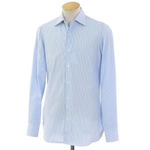 フィナモレ Finamore コットン ワイドカラー ドレスシャツ  ライトブルー×ホワイト 37|ritagliolibro