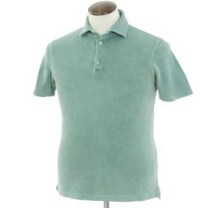 クルチアーニ Cruciani コットン鹿の子 半袖ポロシャツ グリーン 48|ritagliolibro