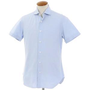バルバ BARBA コットン ワイドカラー 半袖シャツ ライトブルー 40|ritagliolibro