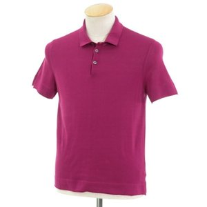 未使用 ドルモア Drumohr ハイゲージコットン ニットポロシャツ ピンクパープル 42|ritagliolibro