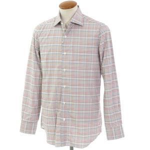 ベルベスト Belvest チェック柄 コットン セミワイドカラーシャツ ホワイト×ブルーグレー×ブラウン系 40 ritagliolibro