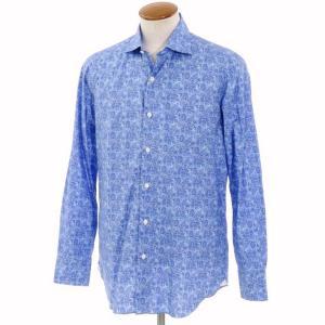 ベルベスト Belvest ペイズリー柄 プリントコットン ワイドカラーシャツ ブルー 40 ritagliolibro