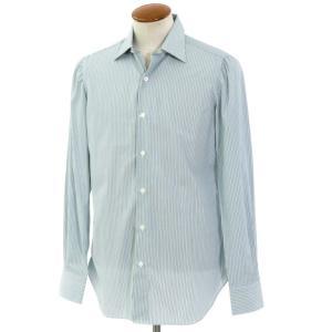 ベルベスト Belvest ストライプ柄 コットン レギュラーカラーシャツ ホワイト×グリーン×ダークブルー 39 ritagliolibro