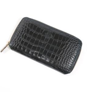 オロビアンコ OROBIANCO クロコ型押しレザー ジップアラウンド 長財布 ブラック|ritagliolibro