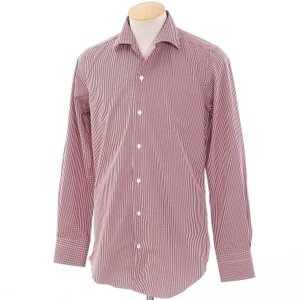 未使用 フィナモレ Finamore チェック ワイドカラーシャツ レッド×ホワイト 38|ritagliolibro