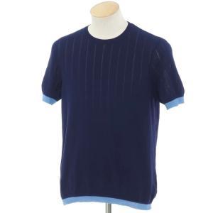 ザノーネ ZANONE ハイゲージコットン 半袖ニット ネイビー×ブルー 44|ritagliolibro