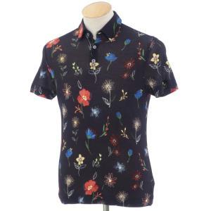 ザノーネ ZANONE アイスピケコットン フラワー柄 半袖ポロシャツ ネイビー×レッド×ブルー系 44 ritagliolibro