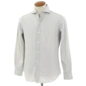 フィナモレ Finamore ストライプ柄 コットン ホリゾンタルカラーシャツ ライトグレー 39|ritagliolibro