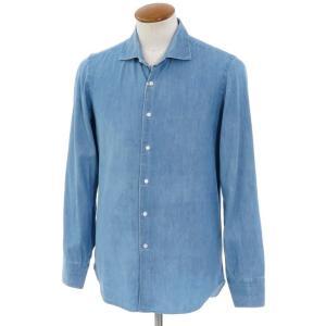 マリアサンタンジェロ Maria Santangelo コットン ワイドカラーシャツ ブルー 40|ritagliolibro