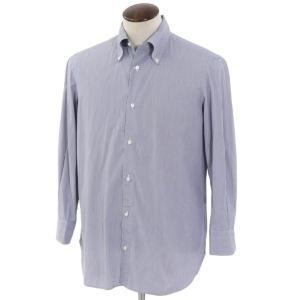 ルイジ ボレッリ LUIGI BORRELLI ストライプ柄 コットン ボタンダウンドレスシャツ ネイビー×ホワイト 40 ritagliolibro