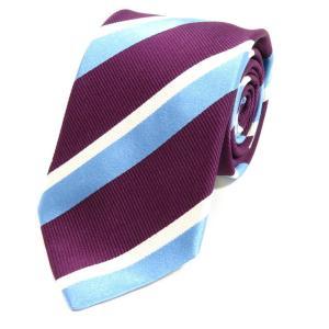 ステファノ ビジ stefano bigi ストライプ柄 シルクコットン 3つ折り ネクタイ パープル×ライトブルー×ホワイト|ritagliolibro