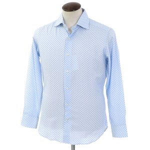 未使用 クイード QJD 小紋柄 プリント コットン ワイドカラーシャツ サックス×ブルー 40 ritagliolibro