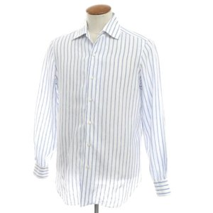 バルバ BARBA ストライプ柄 リネン ワイドカラー シャツ ホワイト×ブルー M|ritagliolibro