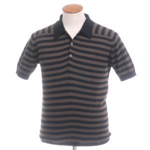 サイラス SILAS ×ジョンスメドレー ハイゲージコットン ボーダー柄 ニットポロシャツ ブラウン×ブラック M|ritagliolibro
