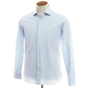 ギローバー GUY ROVER ストライプ柄 サッカー ワイドカラー カジュアルシャツ ライトブルー×ホワイト 41|ritagliolibro