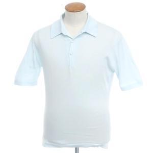 ジョンスメドレー JOHN SMEDLEY ハイゲージコットン ニットポロシャツ アイスブルー M ritagliolibro