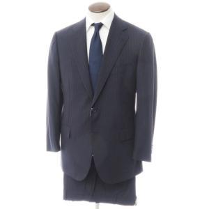 チェーザレ アットリーニ Cesare Attolini ストライプ柄 ウール 2つボタン スーツ ネイビー×ブルー 52|ritagliolibro
